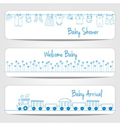 Hand drawn baby shower banners vector