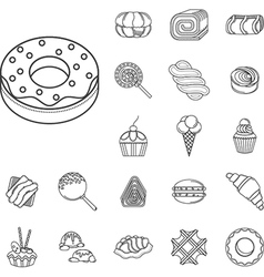 Sweet food flat line icons vector