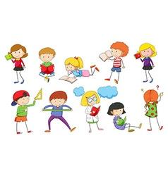 Set of children studying vector image