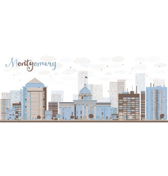 Abstract montgomery skyline with color building vector