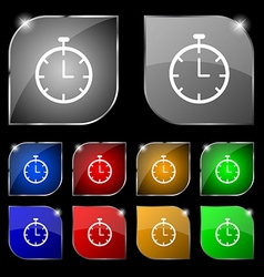 Stopwatch icon sign set of ten colorful buttons vector