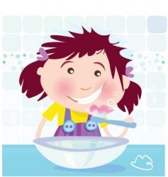 girl brushing teeth vector image