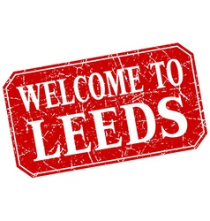 Welcome to leeds red square grunge stamp vector