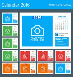 Calendar template for 2016 year design calendar vector