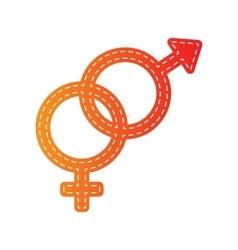 Sex symbol sign orange applique isolated vector