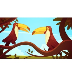 Toucan birds background poster vector