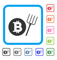 Bitcoin pitchfork framed icon vector