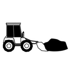 bulldozer with rocks on monochrome dotted vector image