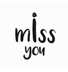 card banner lettering letters I miss you vector image