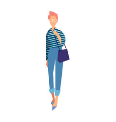 Elegant fashion girl in jeans and blouse vector