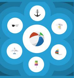 Flat icon season set of aircraft surfing ship vector