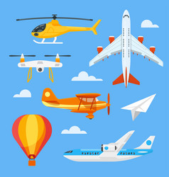Flat style set of colorful air transport vector