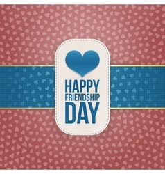 Friendship day paper banner with blue ribbon vector
