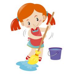 Girl mopping wet floor alone vector