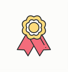 Gold medal award with ribbon winner line thin vector