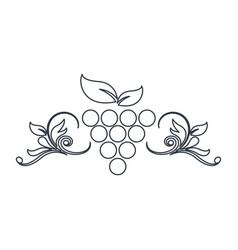 Grape fruit decoration emblem design outline vector
