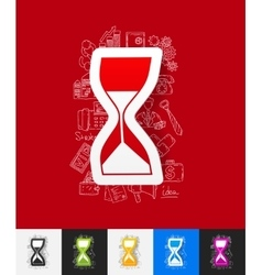 hourglass paper sticker with hand drawn elements vector image