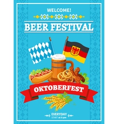 Octoberfest festival welcome flat poster vector