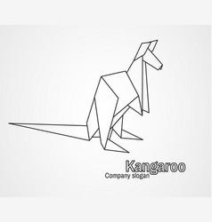 origami logo contour kangaroo vector image vector image