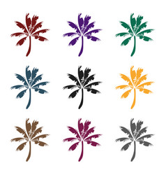 palm tree icon in black style isolated on white vector image vector image