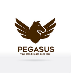 Pegasus logo horse with wings brand identity vector