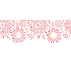 Pink abstract flowers horizontal seamless pattern vector image vector image