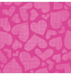 Pink lace hearts textile texture seamless pattern vector image