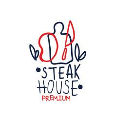 Premium steak house logo template vintage label vector