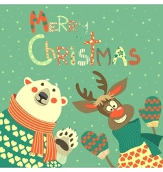 Reindeer and polar bear celebrating Christmas vector image vector image
