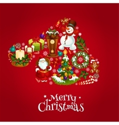 Santas hat made up of Christmas symbols vector image