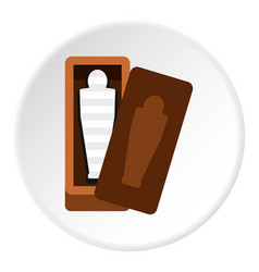 Sarcophagus of an egyptian mummy icon circle vector