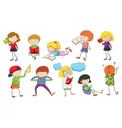 Set of children studying vector image