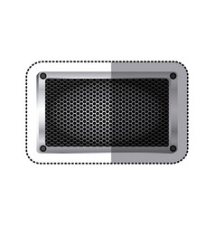 Sticker rectangle metallic frame with grill vector