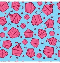 sweet cupcake pattern vector image vector image