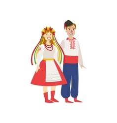 Couple in ukranian national clothes vector
