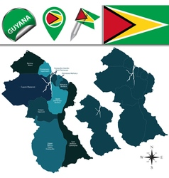 Guyana map with named divisions vector