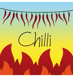 Red hot chilli peppers drying on string and flames vector
