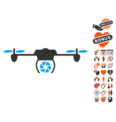 Shutter spy airdrone icon with love bonus vector