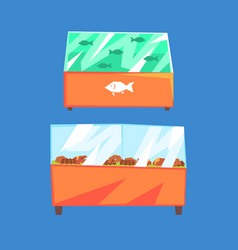 Fish products refrigerators seafood in vector