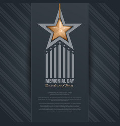 Memorial day design remember and honor vector