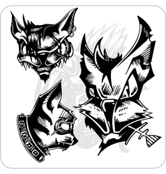 Set - aggressive cats vector