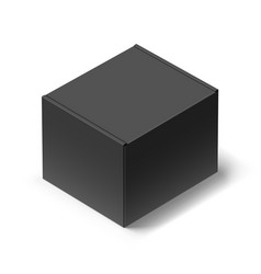 Close up black carton box with shadow on white vector
