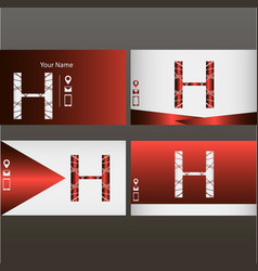 Set of red and silver business cards with logo vector