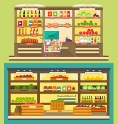 Grocery store supermarket shelves vector