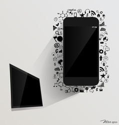 Touchscreen device and computer display with vector image