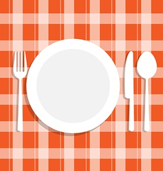 Cutlery dish on orange tablecloth vector image