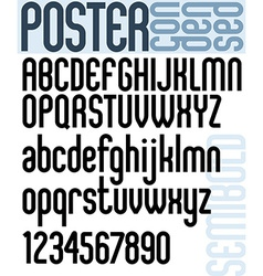 Poster classic style font with rounded corners vector