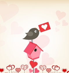 Valentines day greeting card with birdhouse vector