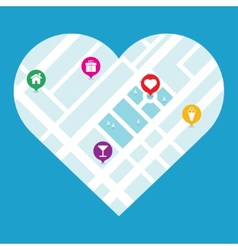 City map in heart shape vector