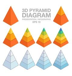 3d layered pyramid charts vector